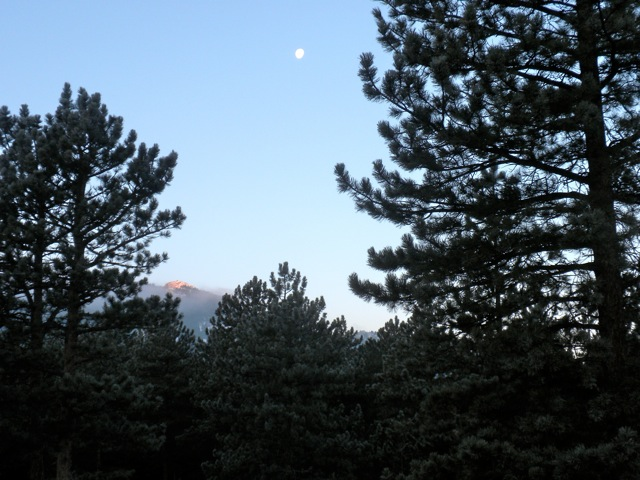 Rocky Mountain morning moon on Christmas Eve 2010