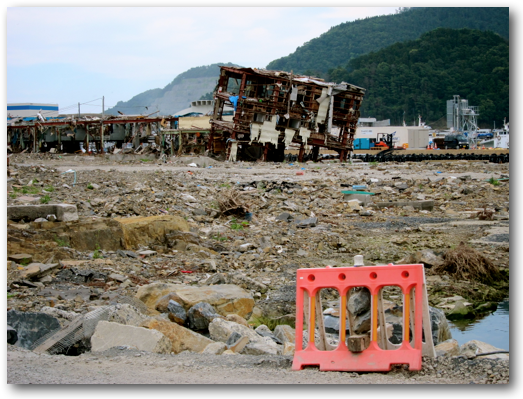 Damaged waterfront in Onagawa