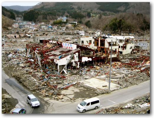Downtown Onagawa cars on buildings April 8, 2011