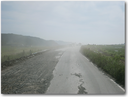Dusty road through Ishinomaki