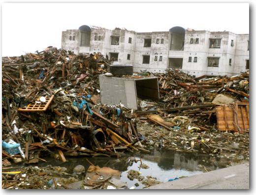 Devastated apartment area in Minami Sanriku