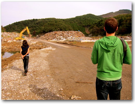Makiko and Adam at Onagawa clean-up