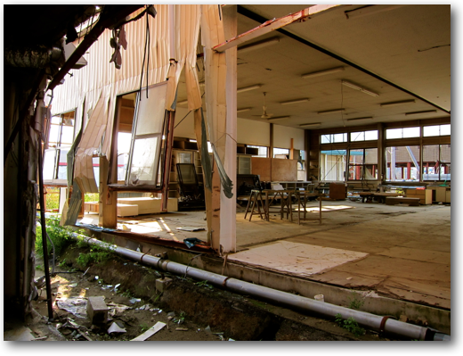 Tattered interior at Ishinomaki
