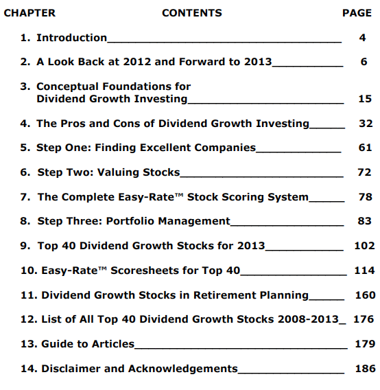 Top 40 Dividend Growth Stocks For 2013 TOC