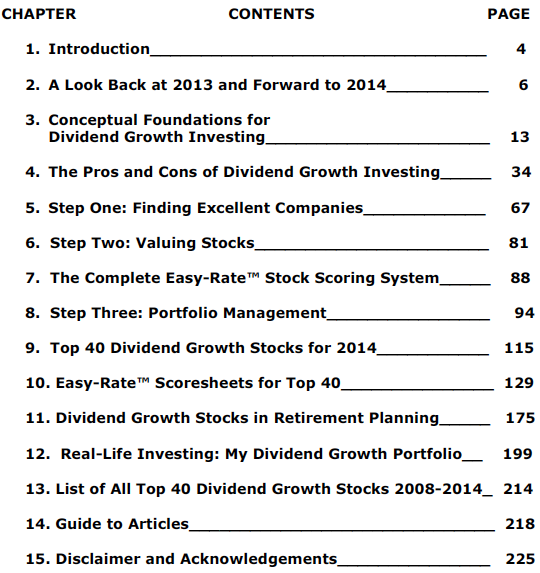 Top 40 Dividend Growth Stocks For 2014 TOC