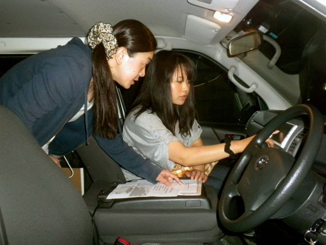 May 21, 2011: Socks for Japan Volunteers Rumiko and Miwa Preparing the Navi