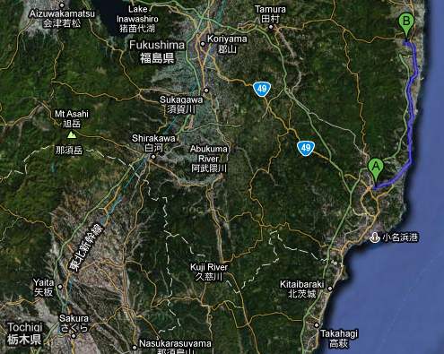 Map showing proximity of Iwaki to Fukushima Daiichi nuclear power plant