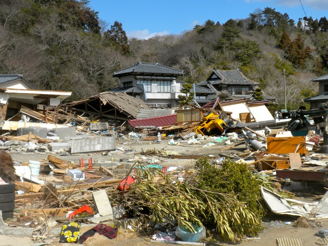 Photo of a destroyed neighborhood in Iwaki