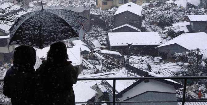 Overlooking Japan's disaster in the snow