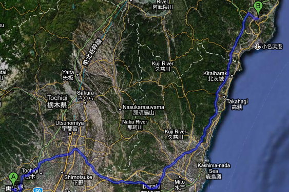 Map showing the route from Sano to Iwaki
