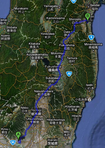 Route map from Sano to Watari