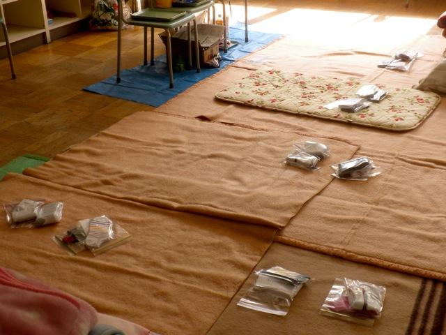Photo of Socks for Japan's socks on sleeping mats in Iwaki