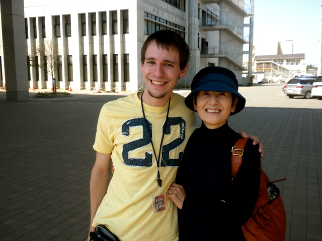 Joe Walch reuniting with his host mother at Ishinomaki Technical High School with Socks for Japan on May 25, 2011.