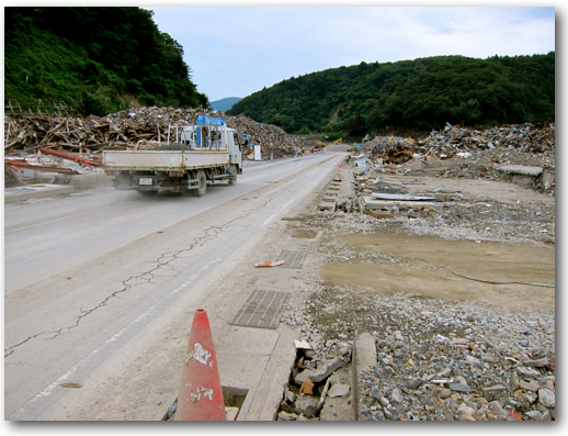 Dirt work road through Onagawa