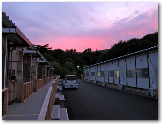 Sunset over Mrs. Takahashi's temporary housing neighborhood in Onagawa