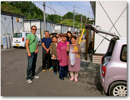 Adam and Makiko with Onagawa survivors