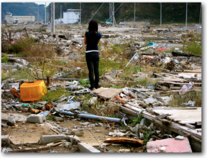 Makiko in Onagawa Valley rubble
