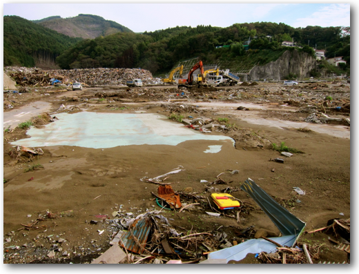 Onagawa clean-up near Mrs. Takahashi's inn