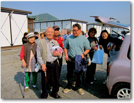 Temp housing survivors and Rumiko in Ishinomaki