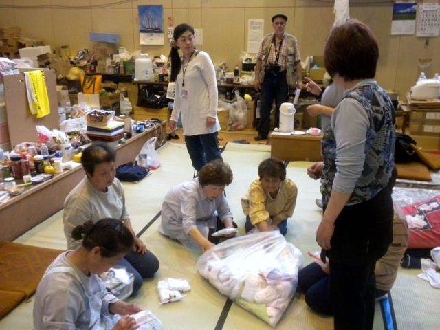 May 21, 2011: Socks for Japan Distribution to a Shelter in Higashi Matsushima with Volunteer Rumiko and Prof. Jose Holguin-Veras