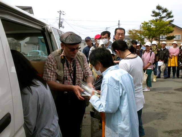 May 21, 2011: Socks for Japan Sock Distribution with Prof. Jose Holguin-Veras Helping